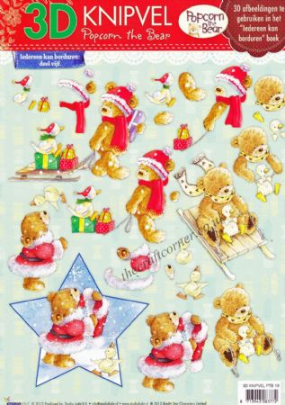 Christmas Popcorn The Bear No 19 3d Decoupage Craft Sheet